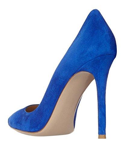 Edefs Chaussures À Talons Pour Femmes - Talons Hauts - Talon Aiguille 10cm - Chaussures À Bout Fermé Pour Femme Bleu