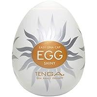 Tenga Huevo Shiny, Funda Masturbadora, 4.9 x 6.1 x 4.9 cm, Color Blanco/Ocre / Plata - 43 gr