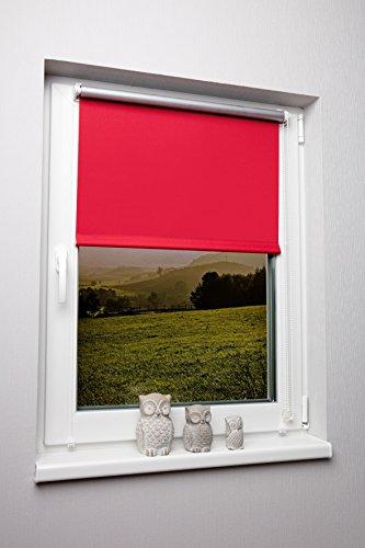 Rollos Rot (Thermo-Rollo ohne Bohren verschiedene Größen und Farben Verdunkelungsrollo Seitenzugrollo Klemmrollo Blackout Silberbeschichtung Rot 90x150 cm)