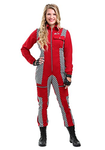 Racer Jumpsuit Plus Size Women's Fancy dress costume - Red Racer Kostüm