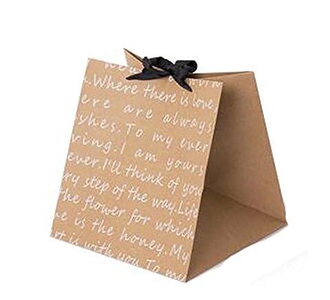 Ensemble de 3 Boîte Fleur Emballage cadeau carré Sac de papier Kraft Paniers de fleurs