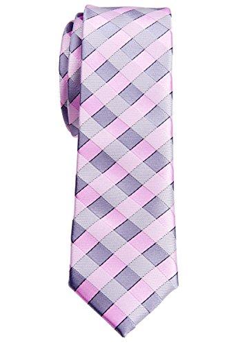 Retreez Herren Schmale Gewebte Krawatte Klassische Karo 5 cm - rosa und grau