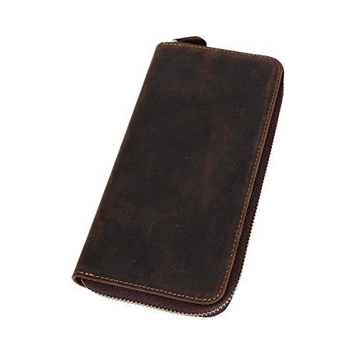BAIGIO Herren Retro Geldbörse Geldbeutel Kreditkartentasche Hochformat Börse aus echtem Leder Taschen,Dunkelbraun Dunkelbraun