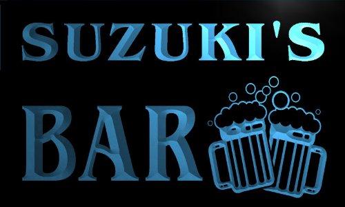 w006048-b SUZUKI'S Nom Accueil Bar Pub Beer Mugs Cheers Neon Sign Biere Enseigne Lumineuse