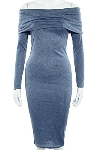 SunIfSnow - Robe spécial grossesse - Moulante - Uni - Manches Longues - Femme - bleu - Small