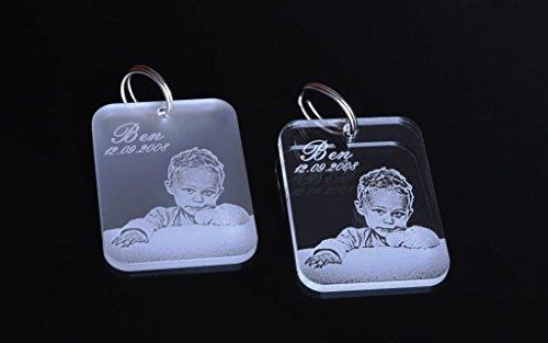 Chrisck design portachiavi con incisione/foto incisa, per partner, innamorato, festa della mammà/del papà, o targhetta per il cane, in vetro acrilico di di alta qualità con nome inciso