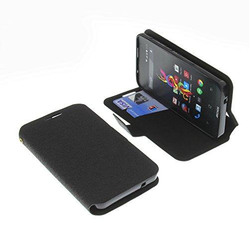 Housse pour Archos 40d Titanium Style livre noir Coque de protection Portefeuille