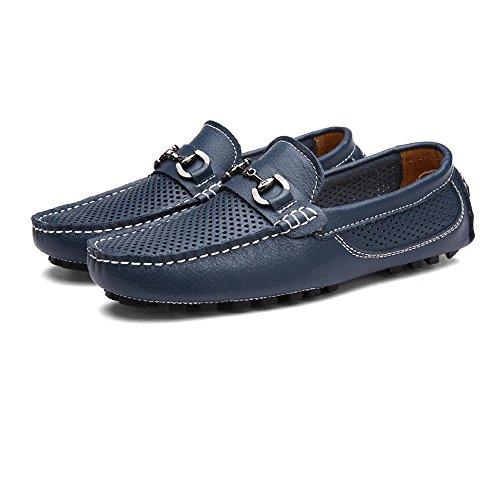 JUJIANFU-Bequeme Schuhe Herren Classic Driving Loafers Hohl Vamp Penny Bootsschuhe Weiche Sohle Freizeit Mokassins (Color : Marine, Größe : 40 EU)