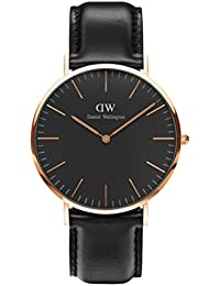 Daniel Wellington Classic Herren-Armbanduhr Analog Quarz Leder - DW00100127