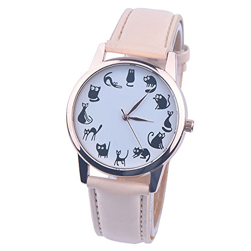 gaddrt Uhren, Lederband Analog Quarz Vogue Armbanduhren (Beige)