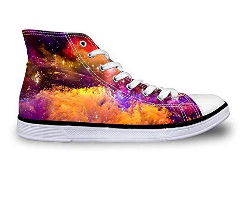 Womens Hi High Top Canvas Shoes Girls Summer Fashion Galaxy Flats Pumps Sneakers HA0016AK Galaxy Print UK 4