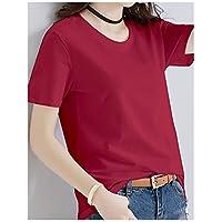 TAIDUJUEDINGYIQIE Camiseta de Manga Corta para Mujer Color Sólido Delgado, Vino Tinto, XXL