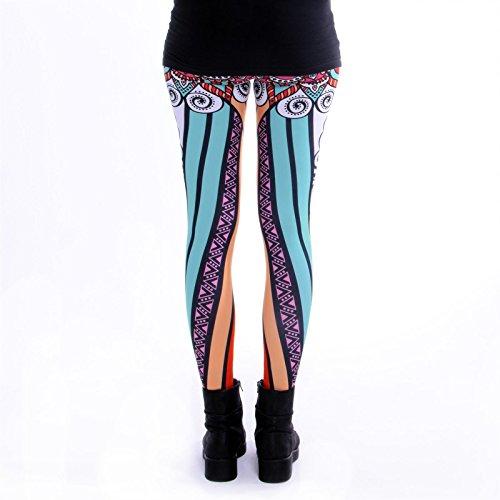 cosey - bedruckte bunte Leggings (Einheitsgröße) verschiedene Designs Mandala Stripes Bunt