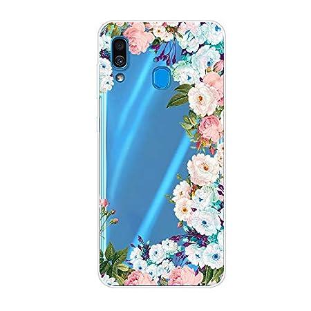 Weich Klar Transparent Glitter Sparkle für Samsung A20e,Durchsichtiges Ultra Dünn Slim Bling Bunte Flower Cartoon…