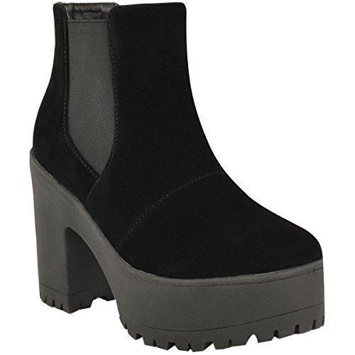 Fashion Thirsty Donna Stivaletti Chelsea Chunky Plateau Blocco Tacchi Alti Slip On Taglia Nero Finto Scamosciato