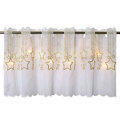 Delindo Lifestyle Tenda per finestre PIOVONO STELLE con LED, adatta a cucina e stanza dei bambini, mezza tendina illuminata, 45x115 cm, tenda moderna trasparente per il Natale