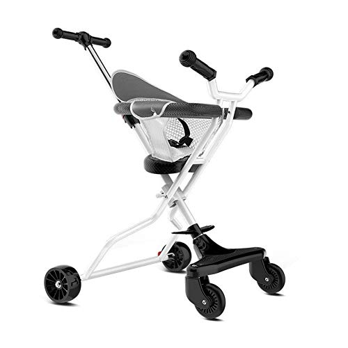 SONG Dreiräder Kinderwagen Licht Falten Baby JoJo Sicherheitszaun Outing Beifahrerspielzeug Am Besten for EIN Geschenk (Color : White)