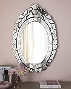 Buy Venetian Oval Shaped Glass Cut Designed Mirror For Iving Room Hall By Venetian Image Online At Low Prices In India Amazon In