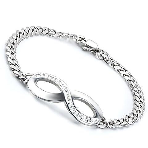 cupimatch Frauen Edelstahl Strass Love Infinity Charm Armband Armreif Valentine Weihnachten Geschenk für Mädchen Lady 20,1cm