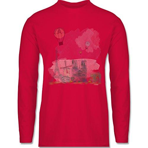 Städte - Paris Wasserfarbe Watercolour - Longsleeve / langärmeliges T-Shirt für Herren Rot