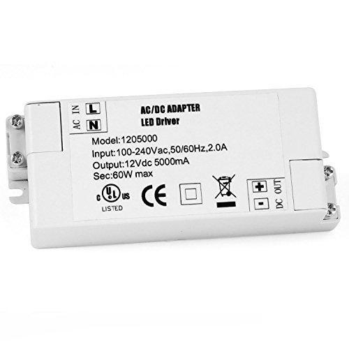 YAYZA! 1-Paquete Transformador de Conductor LED de Bajo Voltaje IP44 12V 5A 60W Fuente de Alimentación Conmutada de CA/CC