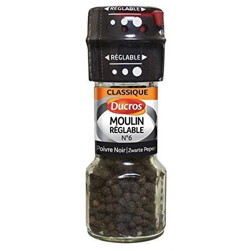 Ducros moulin réglable poivre noir grains 28g - ( Prix Unitaire ) - Envoi Rapide Et Soignée