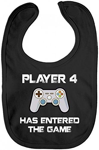 ShirtStreet Geek Nerd Gamer Lätzchen Baumwolle Baby Bib Jungen Mädchen Player 4 Has Entered The Game, Größe: OneSize,Black (Ps3 Gamer)