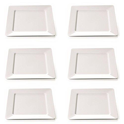 Viva-Haushaltswaren Camping Geschirr aus hochwertigem Melamin Kunststoff 6er Teller Set a 25x25 cm / quadratisch