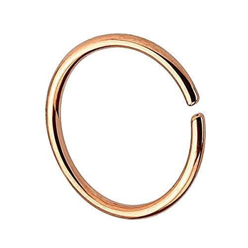 Piersando Continuous Piercing 925 Silber Fake Hoop Ring für Septum Ohr Tragus Helix Nase Lippe Ohr Nasenpiercing Nasenring Rosegold 0,8mm x 10mm