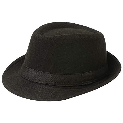 Coucoland Panama Hut Mafia Gangster Herren Fedora Trilby Bogart Hut Herren 1920s Gatsby Kostüm Accessoires (Filz Schwarz) -