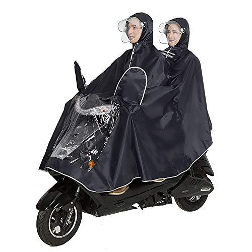 GLJJQMY Fahrradjacke Unisex Tandem Fahrrad, Ebike, Motorrad, Roller Poncho Regenmantel Schal Wasserdichter Regenponcho (Color : Black, Size : XXXL)