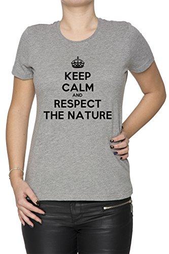 keep-calm-and-respect-the-nature-grau-baumwolle-damen-t-shirt-rundhals-kurzarm-grey-womens-t-shirt