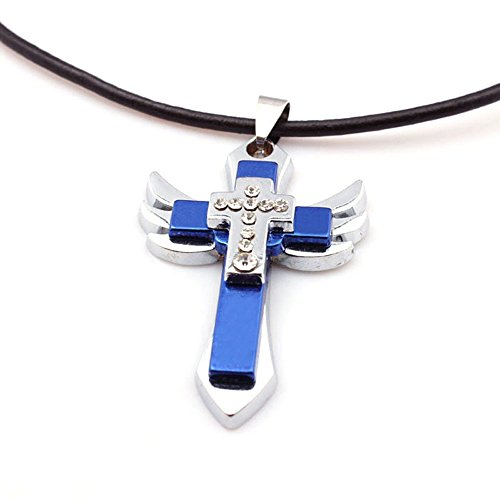 atdoshoptm-1pc-personality-men-titanium-steel-cross-wing-pendant-necklace-gifts-blue