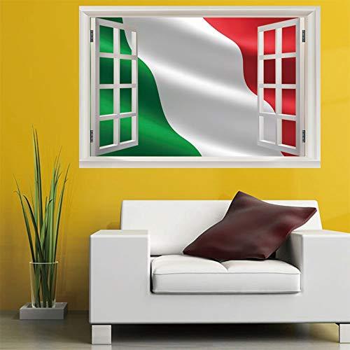 Fenster Wandtattoowand-Wandaufkleber des Italien-3D italienische Flagge (60X90Cm) Kunst-Plakat-Tapeten-Wandgemälde für Sofa-Wohnzimmer-Schlafzimmer-Ausgangsdekoration