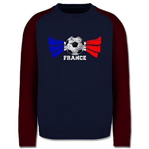 EM 2016 - Frankreich - France Fußball Vintage - Herren Baseball Pullover  Navy Blau/Burgundrot