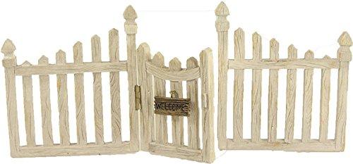 Preisvergleich Produktbild Miniatur Modell Minigarten, Zaun mit Tür groß Gartentor Set, steckbar Länge ca. 23cm