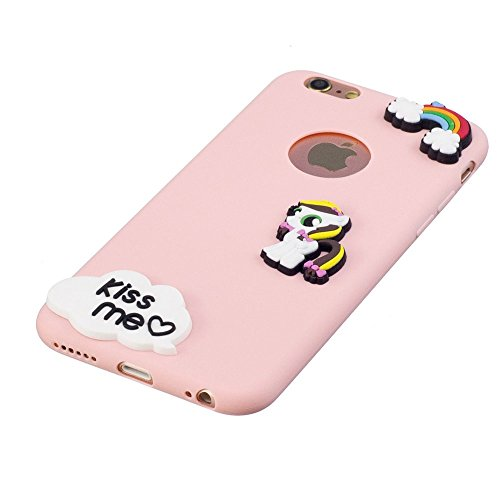 Coque iPhone 6 / 6S Mignon 3D Cartoon Motif, Etui Apple iPhone 6 / 6S (4,7 pouces) Housse de Protection TPU Souple Silicone Bumper Case Ultra Mince Premium Cover Anti-Rayures Anti Choc - Bleu clair Ca Rose
