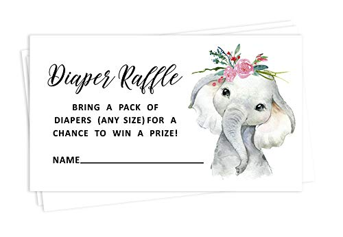 Inkdotpot 30 Baby Party Windel Lotterielos Lotteriekarten Liefert Spiele Für Baby Shower Party Elefantenbaby Mädchen Bringen Sie Eine Packung Windeln Begünstigt Geschenke Und Preise Zu Gewinnen
