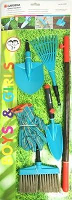 Gardena Gartenset Kinder 7-teilig Gartenwerkzeug Kinderwerkzeug Rechen Handschuhe Schaufel Besen