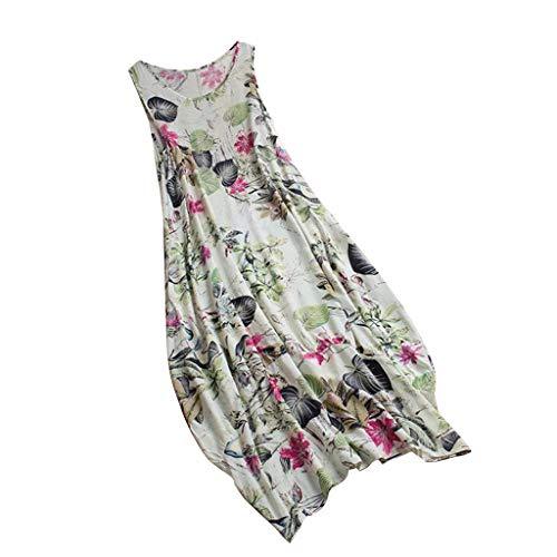 LILIHOT Frauen Kleider Vintage Floral Patch Kleid ärmellose Oansatz Lose Maxi-Kleid Damen Beiläufige Lose Kleid Fest Langarm Boho Lang Sommer Kleid Casual Strandkleid (Maxi-kleid Damen Chevron)