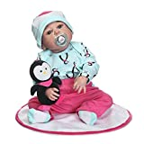 22 Zoll Kinder Reborn Baby Doll Ganzkörper Silikon lebensechte Newborn Puppe mit Pinguin Touch Soft beste Geburtstagsgeschenk - Light Green & Pink