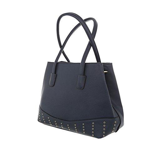 iTal-dEsiGn Damentasche Mittelgroße Schultertasche Handtasche Kunstleder TA-K701 Dunkelblau