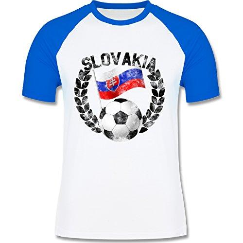 EM 2016 - Frankreich - Slovakia Flagge & Fußball Vintage - zweifarbiges Baseballshirt für Männer Weiß/Royalblau