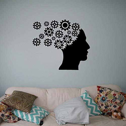 LUANQI Kopfbedeckungen Wandtattoo Mechanismus Zahnrad Menschlicher Kopf Vinyl Aufkleber Schule Büro Klassische Wanddekorwand Wasserdicht 48x42 cm -