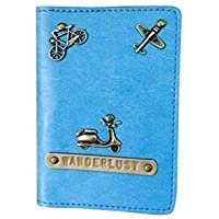 I Love Fashion Light Blue colour Personalised Passport cover