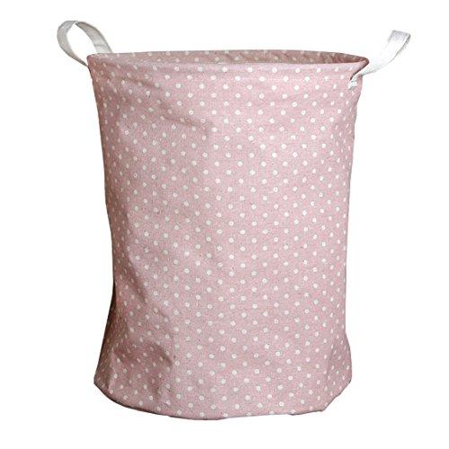 Andux Faltbare Wäschekörbe Wäschesäcke,Kinder Spielzeug Aufbewahrungskorb Aufbewahrungstasche ZYL-01 (Rosa Punkt)