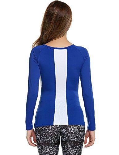 ekouaer Damen Slim Fit Performance Sports Casual UPF 50+ Long Sleeve Shirt Marineblau / Weiß