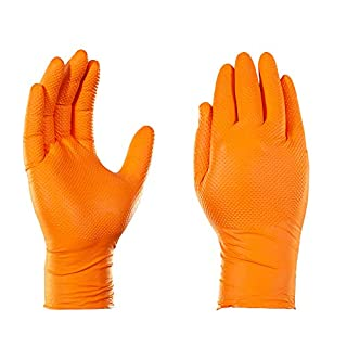 AMMEX Heavy Duty Orange Nitrile 8 Mil Disposale Gloves - Industrial, Extra Thick, Diamond Texture, Powder Free, Ambidextrous, Large, Box of 100