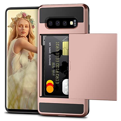 Vunake Galaxy S10 Plus Hülle, Kartenfach Handyhülle Doppelte Schutzschicht Silikon TPU + PC Hardcase Card Holder Wallet Brieftasche 360 Grad Schutzhülle für Samsung Galaxy S10 Plus Case Cover-Rosegold