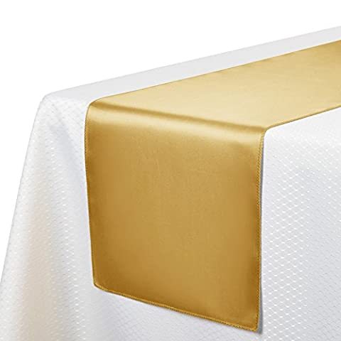 VEEYOO 10 Pieces 30 x 275 cm Satin Table Runners Linens for Wedding Party Banquet Table Top Decoration,